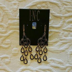NWT INC Black and Gold Earrings